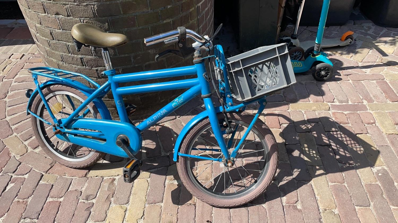 Blauwe 16 inch transportfiets jongens