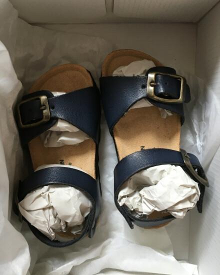 Donkerblauwe leren sandaaltjes